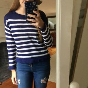 H&M Knit Navy and White Striped Sweater